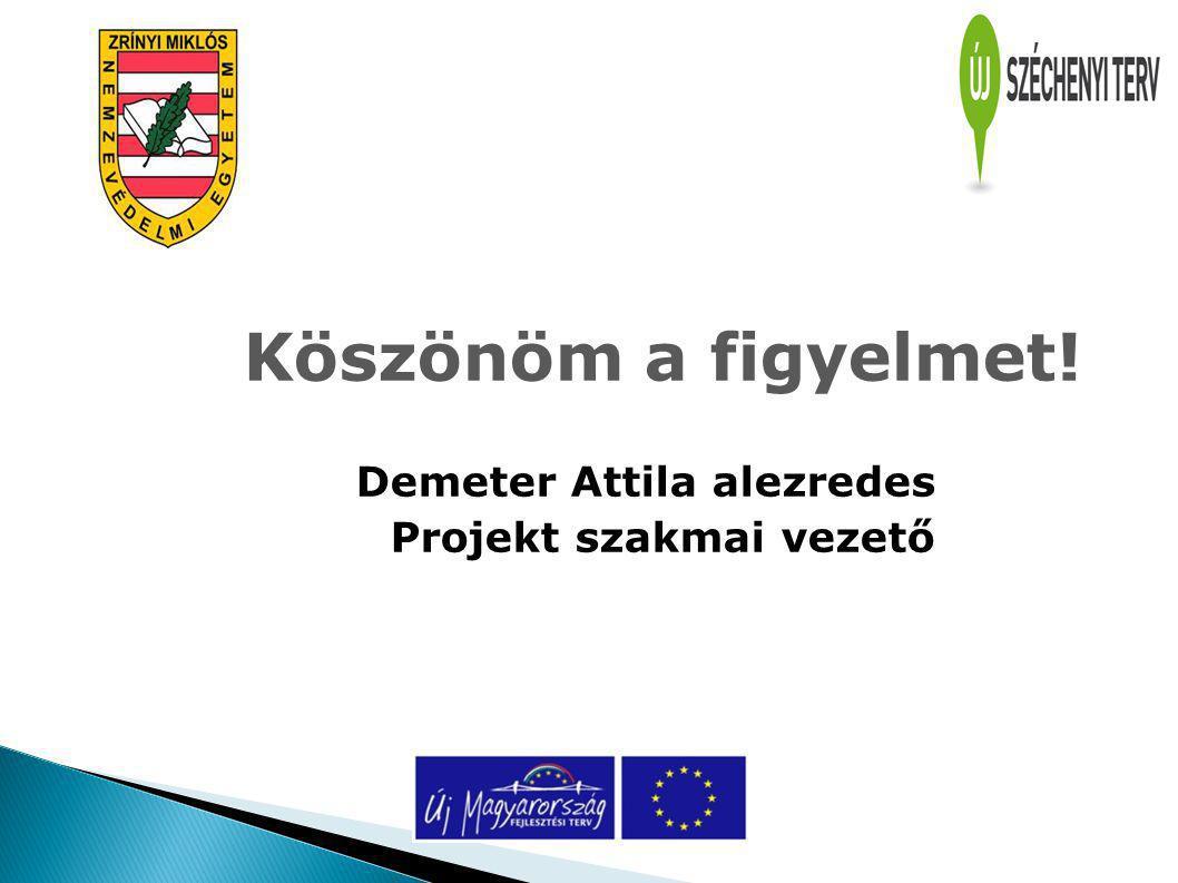 Köszönöm a figyelmet! Demeter Attila alezredes Projekt szakmai vezető