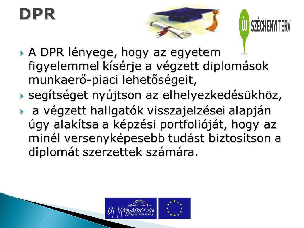 DPR  A DPR lényege, hogy az egyetem figyelemmel kísérje a végzett diplomások munkaerő-piaci lehetőségeit,  segítséget nyújtson az elhelyezkedésükhöz,  a végzett hallgatók visszajelzései alapján úgy alakítsa a képzési portfolióját, hogy az minél versenyképesebb tudást biztosítson a diplomát szerzettek számára.