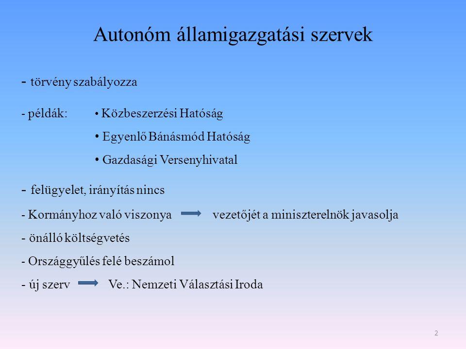 Autonóm államigazgatási szervek 2 - törvény szabályozza - példák: Közbeszerzési Hatóság Egyenlő Bánásmód Hatóság Gazdasági Versenyhivatal - felügyelet
