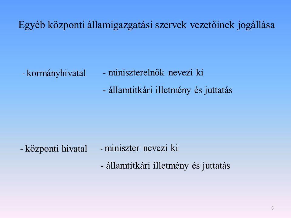 Egyéb központi államigazgatási szervek vezetőinek jogállása 6 - kormányhivatal - miniszterelnök nevezi ki - államtitkári illetmény és juttatás - közpo