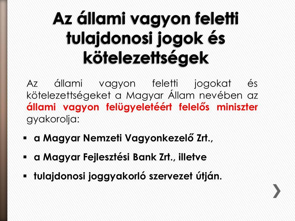 Az állami vagyon feletti jogokat és kötelezettségeket a Magyar Állam nevében az állami vagyon felügyeletéért felelős miniszter gyakorolja:  a Magyar
