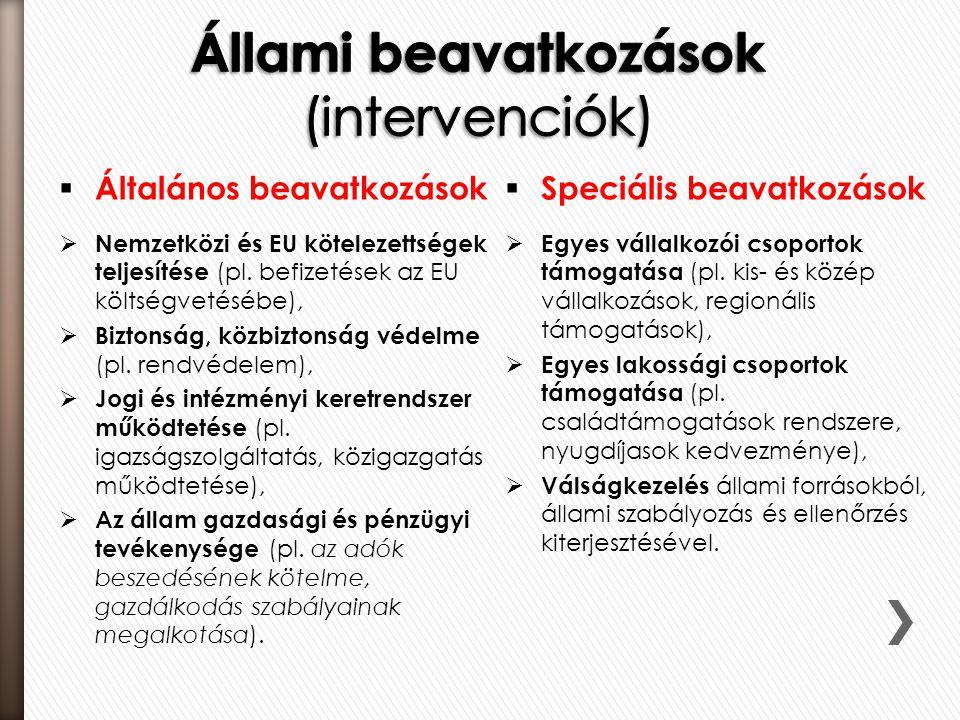  Általános beavatkozások  Nemzetközi és EU kötelezettségek teljesítése (pl. befizetések az EU költségvetésébe),  Biztonság, közbiztonság védelme (p