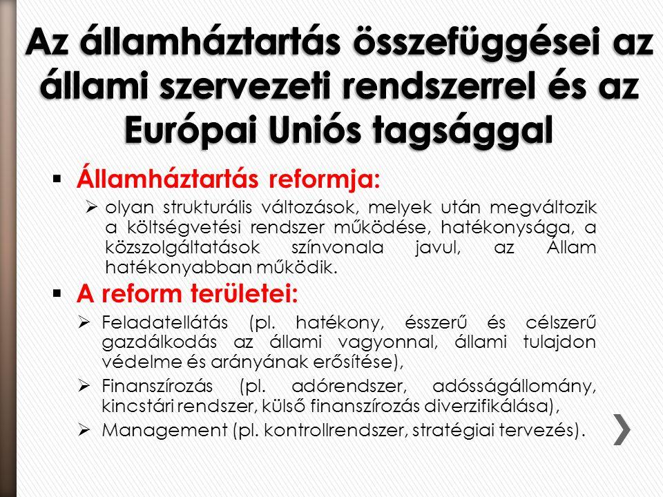  Államháztartás reformja:  olyan strukturális változások, melyek után megváltozik a költségvetési rendszer működése, hatékonysága, a közszolgáltatás