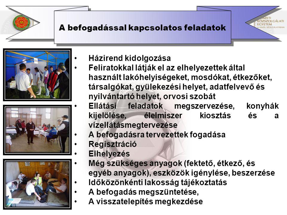 A visszatelepítés A veszélyeztetettség megszűnése után a visszatelepülés feltétele: a közegészségügyi helyzet normalizálása, járványveszély megszüntetése, fertőtlenítés a lakosság tájékoztatása a szükséges magatartási és higiéniás rendszabályokról, a közművek, közműszolgáltatások helyreállítása, a minimális lakhatási feltételek biztosítása, a lakosság alapellátásának biztosítása, az ideiglenesen fedél nélkül maradtak elhelyezésének, ellátásának biztosítása, az életveszélyes épületek bontásának végrehajtása, közintézmények működési feltételeinek biztosítása, az iskolai oktatás újraindítása, valamint a károk felmérése.