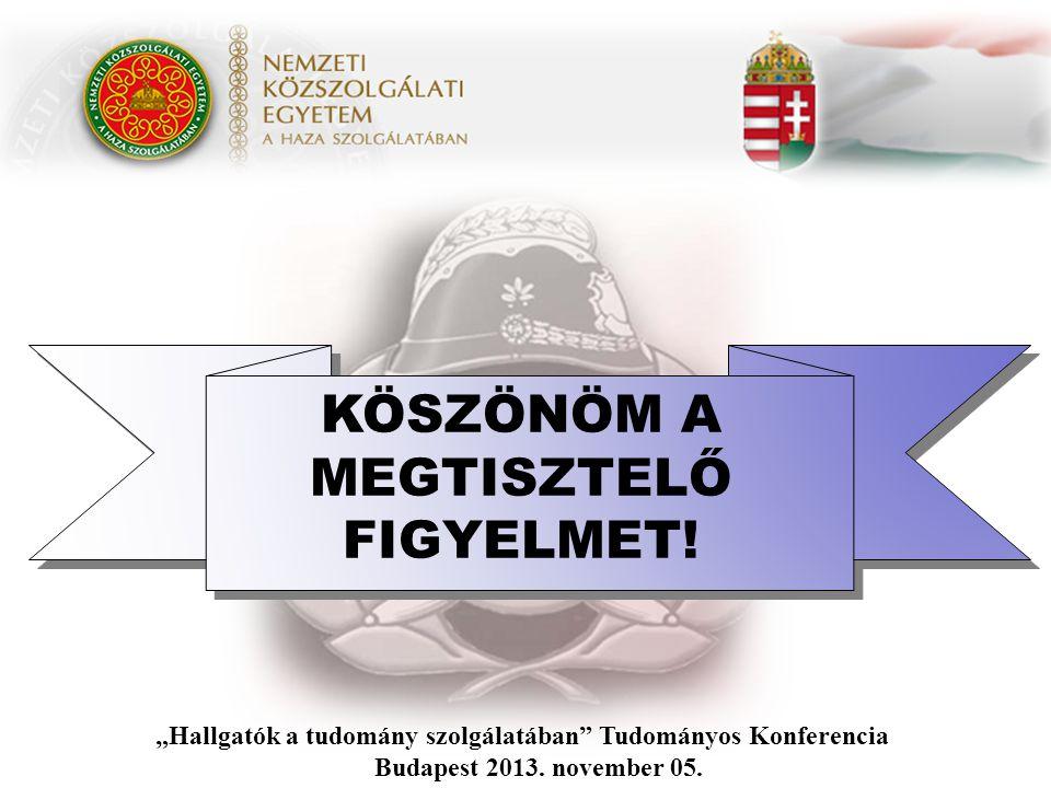 """KÖSZÖNÖM A MEGTISZTELŐ FIGYELMET! """"Hallgatók a tudomány szolgálatában"""" Tudományos Konferencia Budapest 2013. november 05."""
