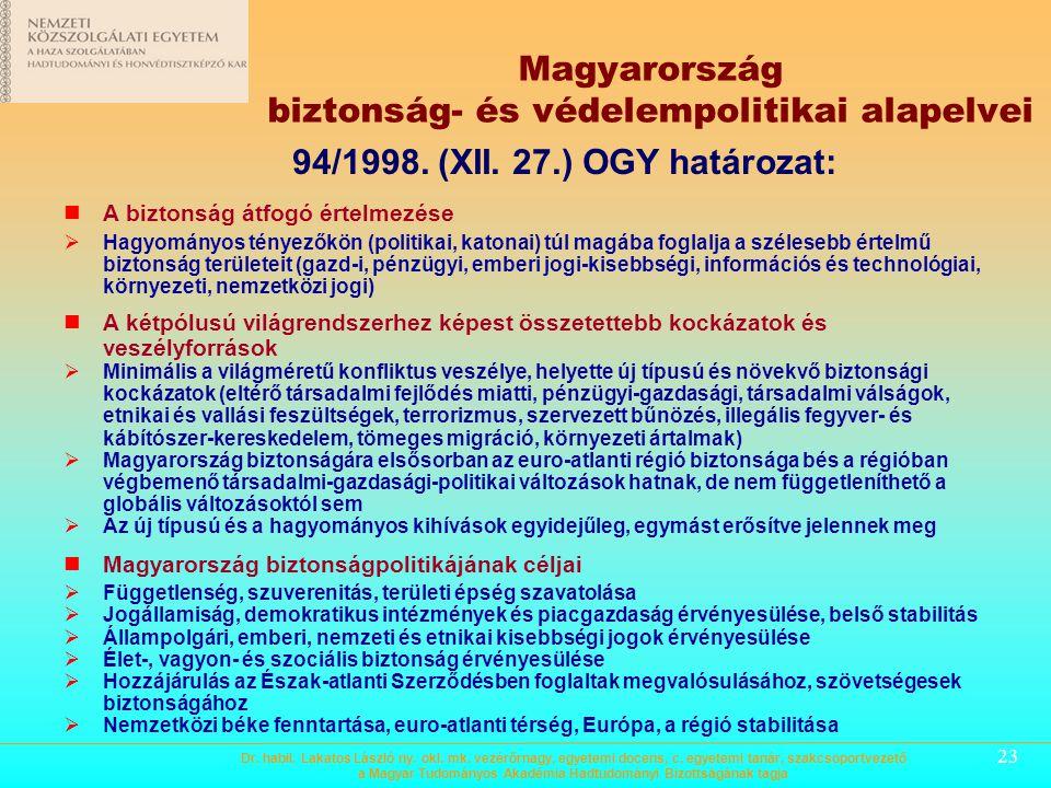 22 Magyarország biztonság- és védelempolitikai alapelvei A biztonság átfogó értelmezése A kétpólusú világrendszerhez képest összetettebb kockázatok és