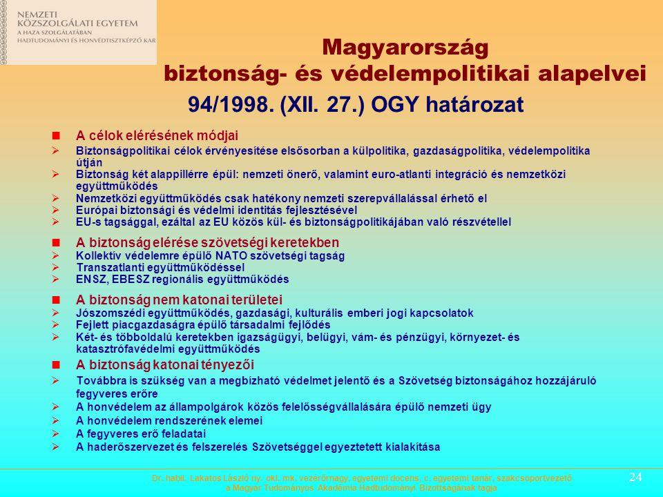 23 Magyarország biztonság- és védelempolitikai alapelvei A biztonság átfogó értelmezése  Hagyományos tényezőkön (politikai, katonai) túl magába fogla