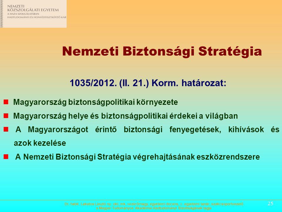 24 Magyarország biztonság- és védelempolitikai alapelvei A célok elérésének módjai  Biztonságpolitikai célok érvényesítése elsősorban a külpolitika,