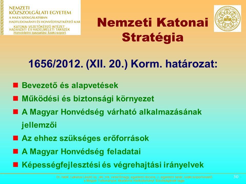 29 KATONAI VEZETŐKÉPZŐ INTÉZET HADÁSZATI ÉS HADELMÉLETI TANSZÉK Honvédelmi Igazgatási Szakcsoport 1035/2012. (II. 21.) Korm. határozat: A NEMZETI BIZT
