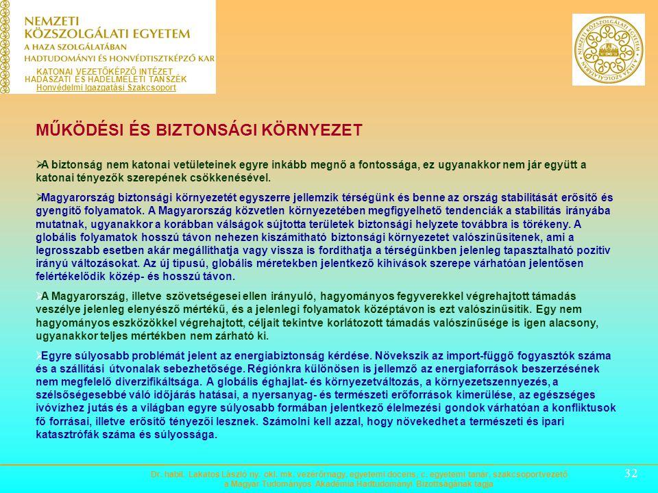31 BEVEZETŐ ÉS ALAPVETÉSEK  A Nemzeti Katonai Stratégia célja, hogy Magyarország Alaptörvényével, a védelmi szféra tevékenységét meghatározó jogszabá