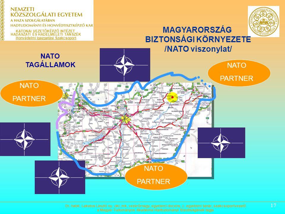 17 KATONAI VEZETŐKÉPZŐ INTÉZET HADÁSZATI ÉS HADELMÉLETI TANSZÉK Honvédelmi Igazgatási Szakcsoport MAGYARORSZÁG BIZTONSÁGI KÖRNYEZETE /NATO viszonylat/ NATO PARTNER NATO TAGÁLLAMOK NATO PARTNER NATO PARTNER Dr.