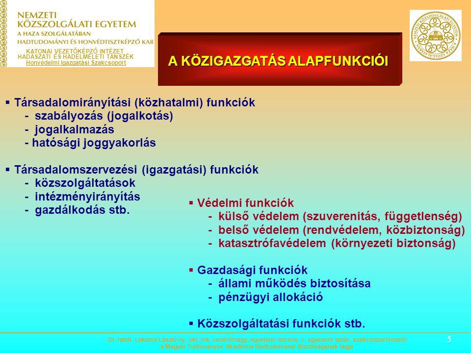 5  Társadalomirányítási (közhatalmi) funkciók - szabályozás (jogalkotás) - jogalkalmazás - hatósági joggyakorlás  Társadalomszervezési (igazgatási) funkciók - közszolgáltatások - intézményirányítás - gazdálkodás stb.