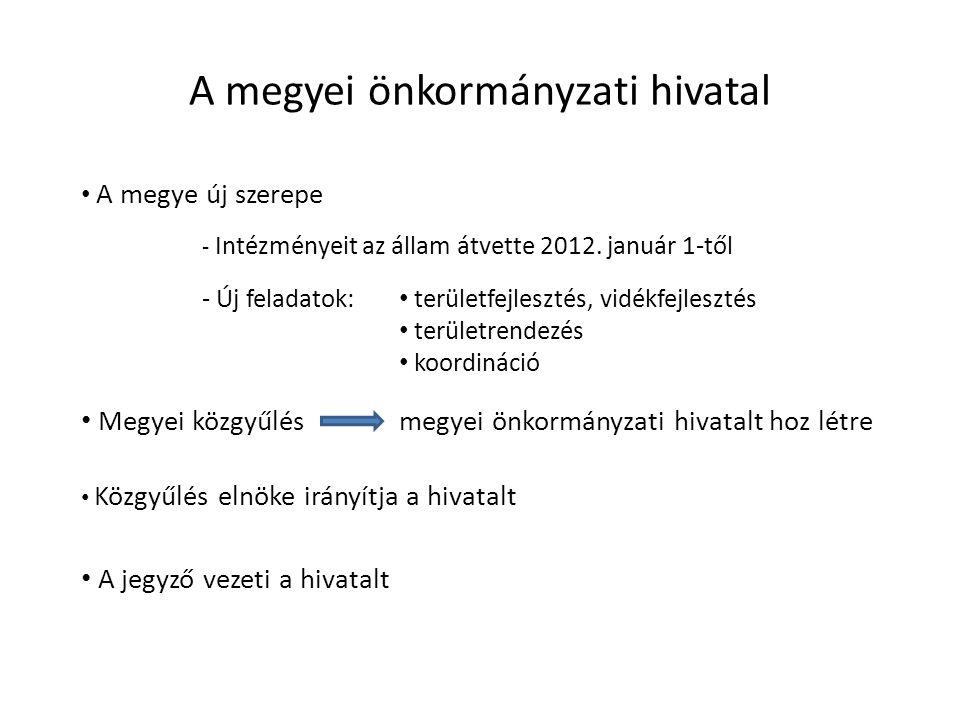 Megyék konszolidációja Intézményeinek / vagyonának átvétele Megyei önkormányzatok 2012.