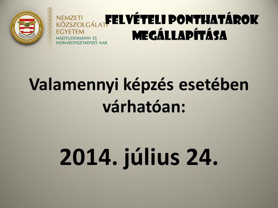 Felvételi ponthatárok megállapítása Valamennyi képzés esetében várhatóan: 2014. július 24.
