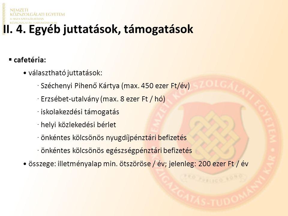 II. 4. Egyéb juttatások, támogatások  cafetéria: választható juttatások: ∙ Széchenyi Pihenő Kártya (max. 450 ezer Ft/év) ∙ Erzsébet-utalvány (max. 8