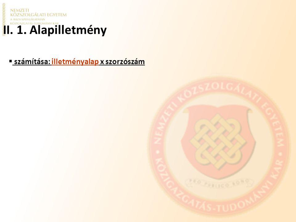 ILLETMÉNYRENDSZER I.BESOROLÁSI OSZTÁLY (felsőfokú iskolai végzettségű köztisztviselők) III.