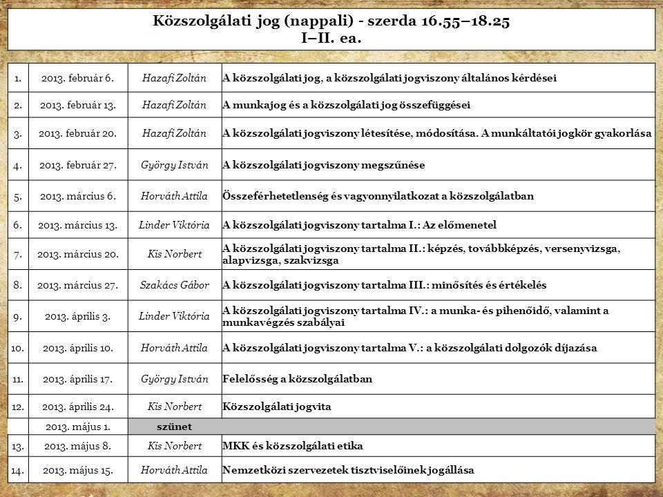Forrás: e-közigtad Közszolgálati jog (nappali) - szerda 16.55–18.25 I–II. ea. 1.2013. február 6.Hazafi ZoltánA közszolgálati jog, a közszolgálati jogv