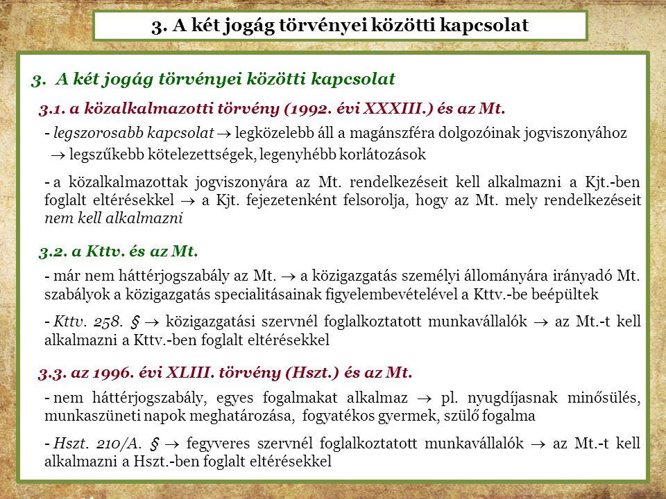 3. A két jogág törvényei közötti kapcsolat 3.1. a közalkalmazotti törvény (1992. évi XXXIII.) és az Mt. - legszorosabb kapcsolat  legközelebb áll a m