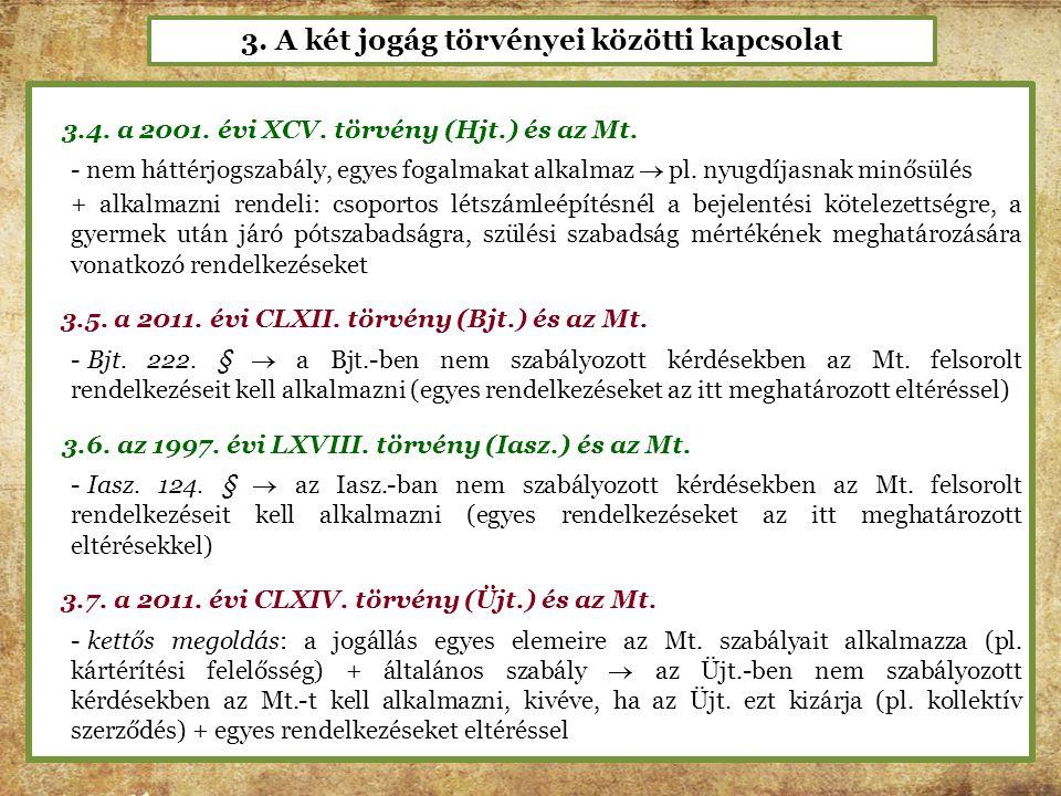 3. A két jogág törvényei közötti kapcsolat 3.4. a 2001. évi XCV. törvény (Hjt.) és az Mt. - nem háttérjogszabály, egyes fogalmakat alkalmaz  pl. nyug