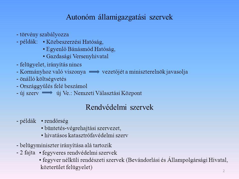 Autonóm államigazgatási szervek - törvény szabályozza - példák: - felügyelet, irányítás nincs - Kormányhoz való viszonya vezetőjét a miniszterelnök ja