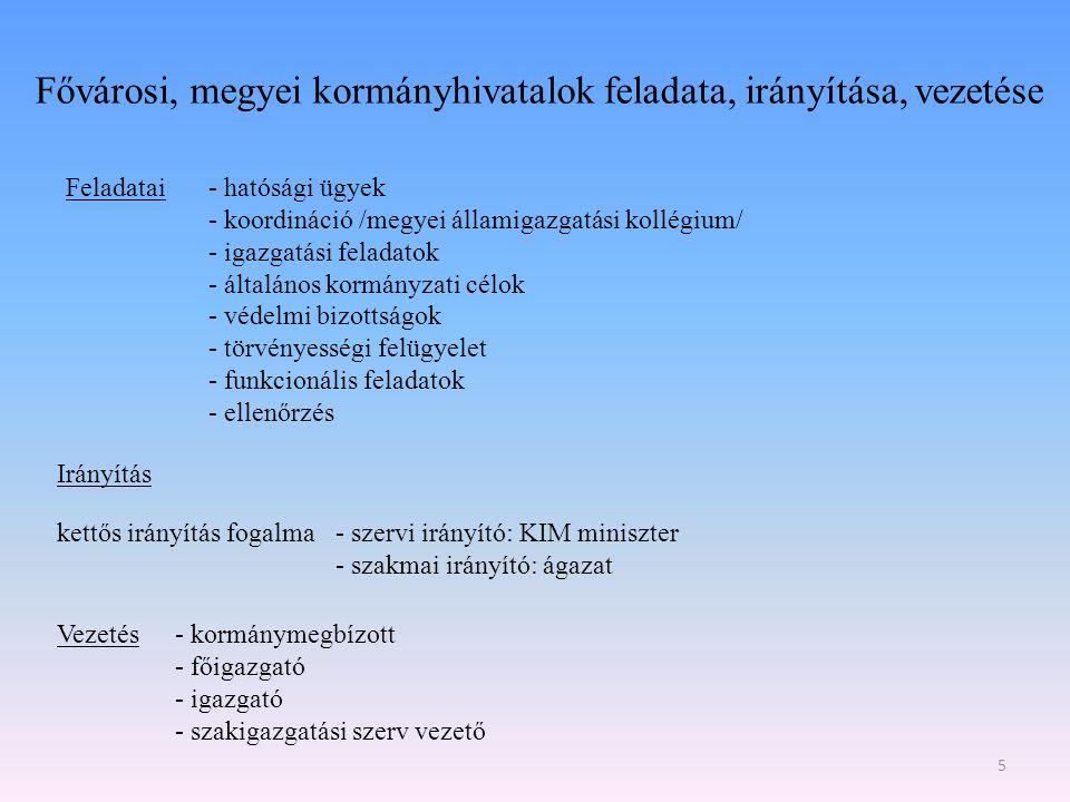 Fővárosi, megyei kormányhivatalok feladata, irányítása, vezetése Feladatai- hatósági ügyek - koordináció /megyei államigazgatási kollégium/ - igazgatá
