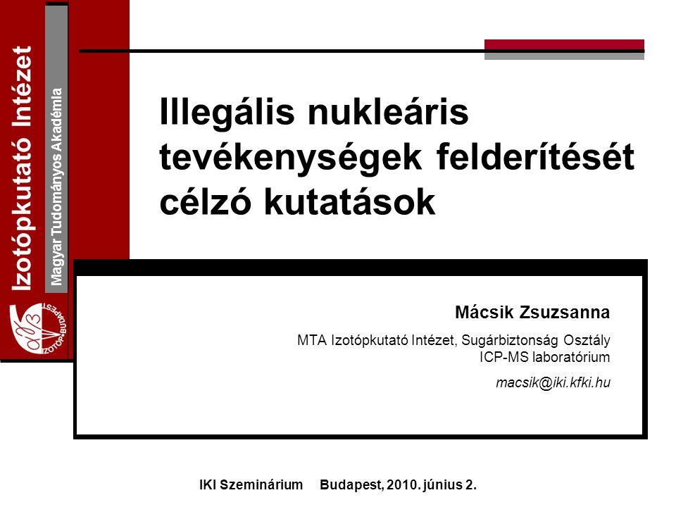 Izotópkutató Intézet Magyar Tudományos Akadémia Köszönöm a figyelmet! www.iki.kfki.hu