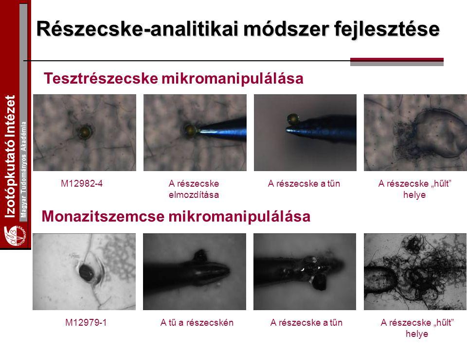"""Izotópkutató Intézet Magyar Tudományos Akadémia Részecske-analitikai módszer fejlesztése Tesztrészecske mikromanipulálása Monazitszemcse mikromanipulálása M12982-4A részecske elmozdítása A részecske a tűnA részecske """"hűlt helye A részecske a tűnA tű a részecskénM12979-1"""