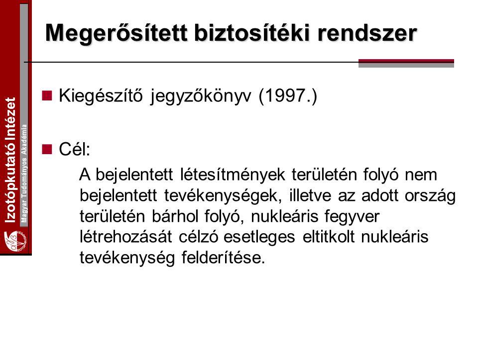 Izotópkutató Intézet Magyar Tudományos Akadémia Megerősített biztosítéki rendszer Kiegészítő jegyzőkönyv (1997.) Cél: A bejelentett létesítmények területén folyó nem bejelentett tevékenységek, illetve az adott ország területén bárhol folyó, nukleáris fegyver létrehozását célzó esetleges eltitkolt nukleáris tevékenység felderítése.