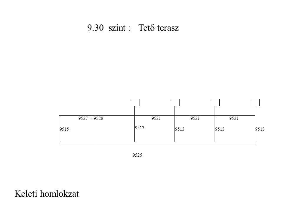 9.30 szint : Tető terasz Keleti homlokzat 9526 9521 + 95289527 9513 95159513