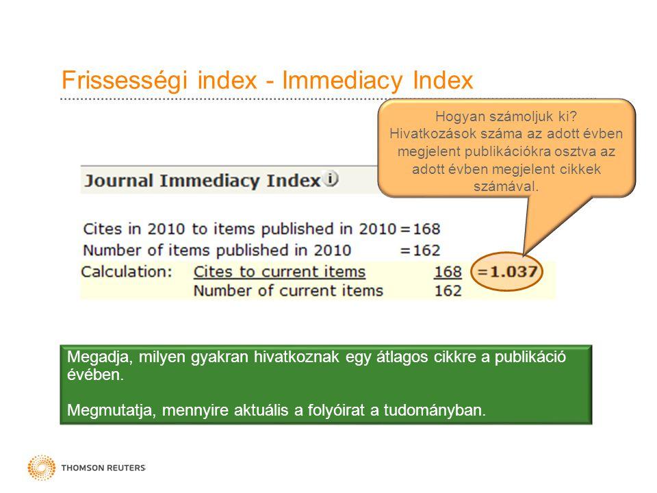 Frissességi index - Immediacy Index Megadja, milyen gyakran hivatkoznak egy átlagos cikkre a publikáció évében.