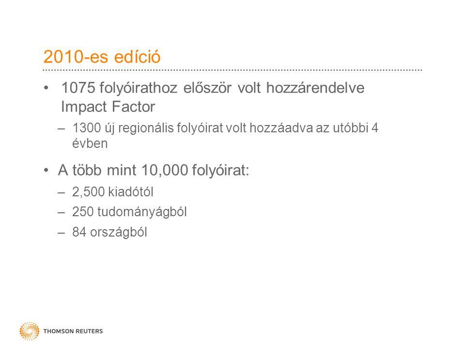 2010-es edíció 1075 folyóirathoz először volt hozzárendelve Impact Factor –1300 új regionális folyóirat volt hozzáadva az utóbbi 4 évben A több mint 10,000 folyóirat: –2,500 kiadótól –250 tudományágból –84 országból