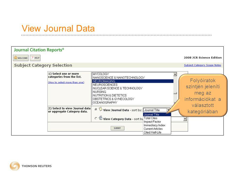 View Journal Data Folyóiratok szintjén jeleníti meg az információkat a választott kategóriában