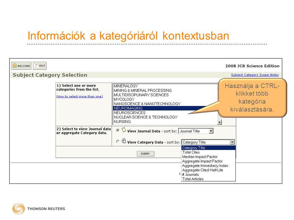 Információk a kategóriáról kontextusban Használja a CTRL- klikket több kategória kiválasztására.
