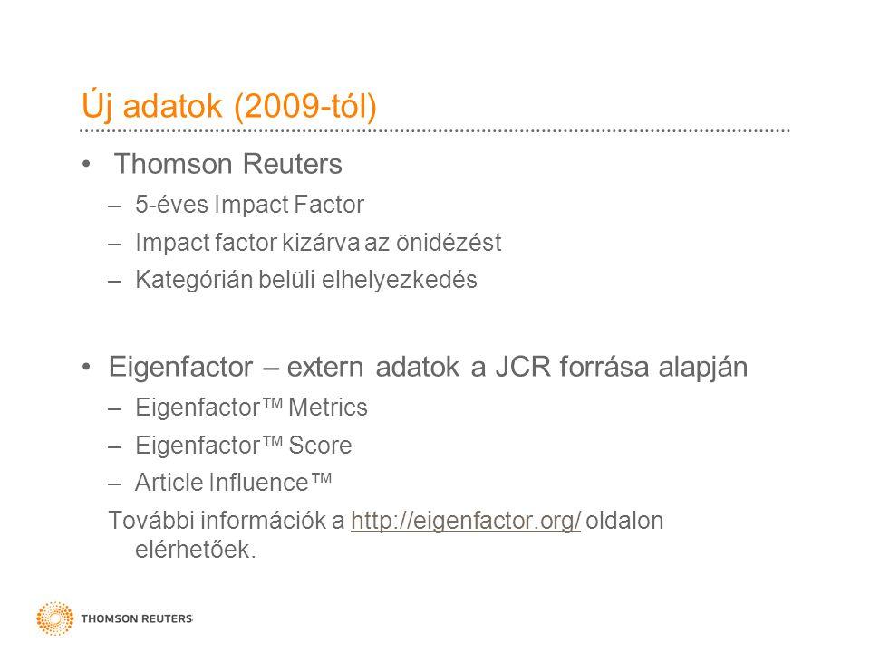 Új adatok (2009-tól) Thomson Reuters –5-éves Impact Factor –Impact factor kizárva az önidézést –Kategórián belüli elhelyezkedés Eigenfactor – extern adatok a JCR forrása alapján –Eigenfactor™ Metrics –Eigenfactor™ Score –Article Influence™ További információk a http://eigenfactor.org/ oldalon elérhetőek.http://eigenfactor.org/