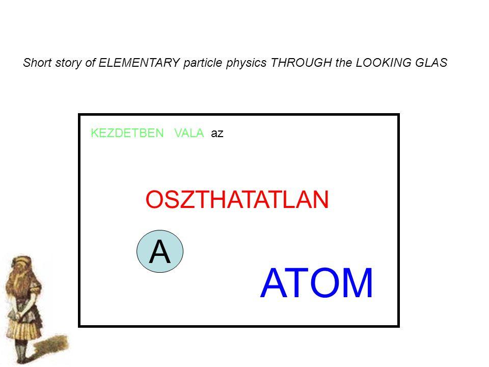 Short story of ELEMENTARY particle physics THROUGH the LOOKING GLAS KEZDETBEN VALA az OSZTHATATLAN ATOM A