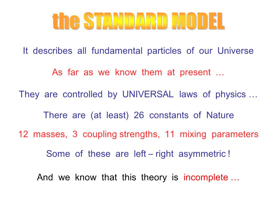 It describes all fundamental particles of our Universe As far as we know them at present … They are controlled by UNIVERSAL laws of physics … There are (at least) 26 constants of Nature 12 masses, 3 coupling strengths, 11 mixing parameters Some of these are left – right asymmetric .