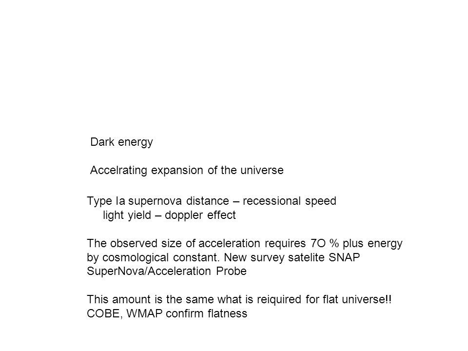 Dark energy Accelrating expansion of the universe Type Ia supernova distance – recessional speed light yield – doppler effect The observed size of acc
