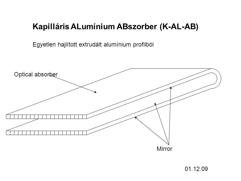 Kapilláris ALumínium ABszorber (K-AL-AB) Egyetlen hajlított extrudált alumínium profilból Optical absorber Mirror 01.12.09