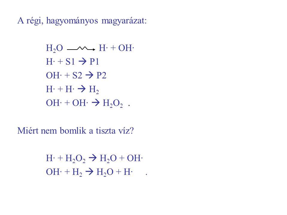 A régi, hagyományos magyarázat: H 2 O H· + OH· H· + S1  P1 OH· + S2  P2 H· + H·  H 2 OH· + OH·  H 2 O 2. Miért nem bomlik a tiszta víz? H· + H 2 O