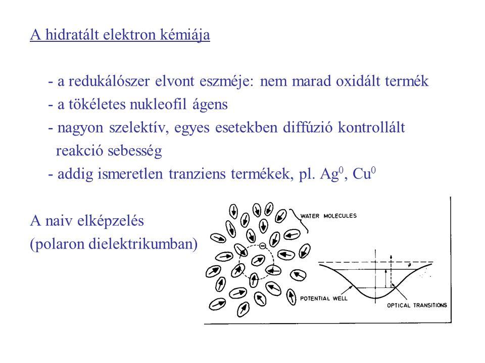 A hidratált elektron kémiája - a redukálószer elvont eszméje: nem marad oxidált termék - a tökéletes nukleofil ágens - nagyon szelektív, egyes esetekben diffúzió kontrollált reakció sebesség - addig ismeretlen tranziens termékek, pl.