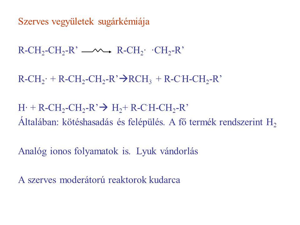 Szerves vegyületek sugárkémiája R-CH 2 -CH 2 -R' R-CH 2 · ·CH 2 -R' R-CH 2 · + R-CH 2 -CH 2 -R'  RCH 3 + R-C · H-CH 2 -R' H· + R-CH 2 -CH 2 -R'  H 2 + R-C · H-CH 2 -R' Általában: kötéshasadás és felépülés.