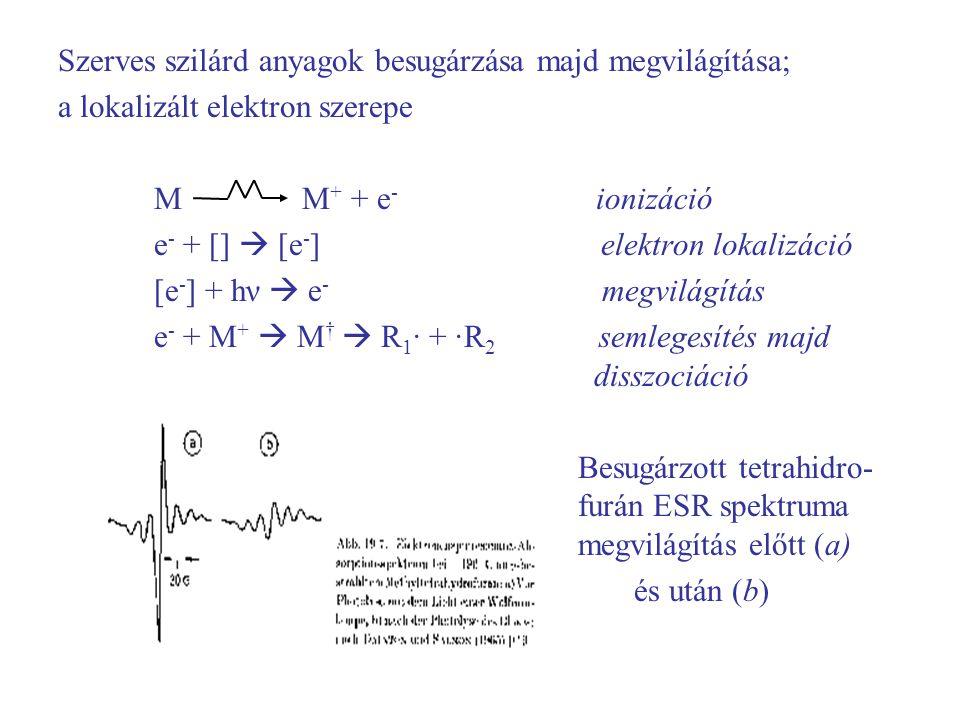 Szerves szilárd anyagok besugárzása majd megvilágítása; a lokalizált elektron szerepe M M + + e - ionizáció e - + []  [e - ] elektron lokalizáció [e