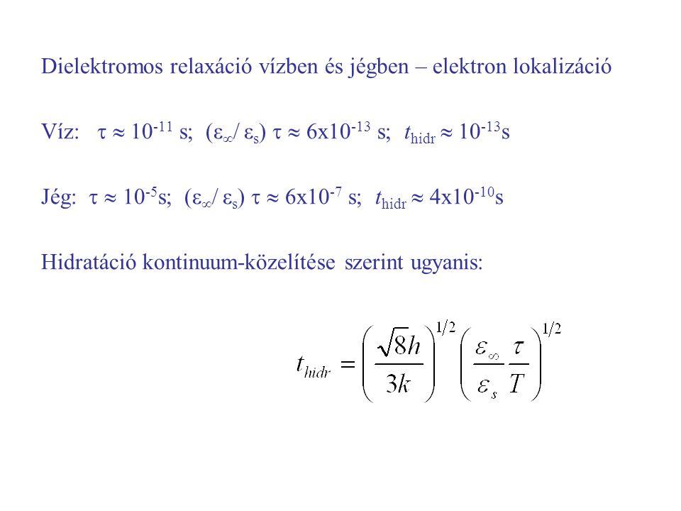 Dielektromos relaxáció vízben és jégben – elektron lokalizáció Víz:   10 -11 s; (ε ∞ / ε s )   6x10 -13 s; t hidr  10 -13 s Jég:   10 -5 s; (ε ∞ / ε s )   6x10 -7 s; t hidr  4x10 -10 s Hidratáció kontinuum-közelítése szerint ugyanis: