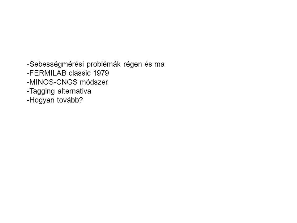 -Sebességmérési problémák régen és ma -FERMILAB classic 1979 -MINOS-CNGS módszer -Tagging alternativa -Hogyan tovább?