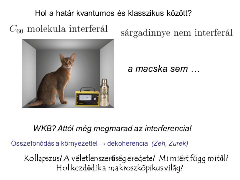 Hol a határ kvantumos és klasszikus között. WKB. Attól még megmarad az interferencia.