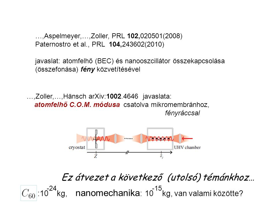 …,Aspelmeyer,…,Zoller, PRL 102,020501(2008) Paternostro et al., PRL 104,243602(2010) javaslat: atomfelhő (BEC) és nanooszcillátor összekapcsolása (összefonása) fény közvetítésével …,Zoller,…,Hänsch arXiv:1002.4646 javaslata: atomfelhő C.O.M.
