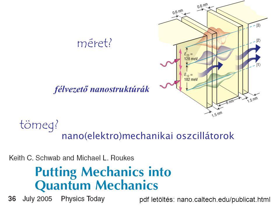 félvezető nanostruktúrák méret. nano(elektro)mechanikai oszcillátorok tömeg.