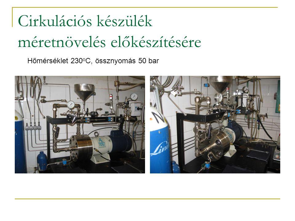 Cirkulációs készülék méretnövelés előkészítésére Hőmérséklet 230 o C, össznyomás 50 bar