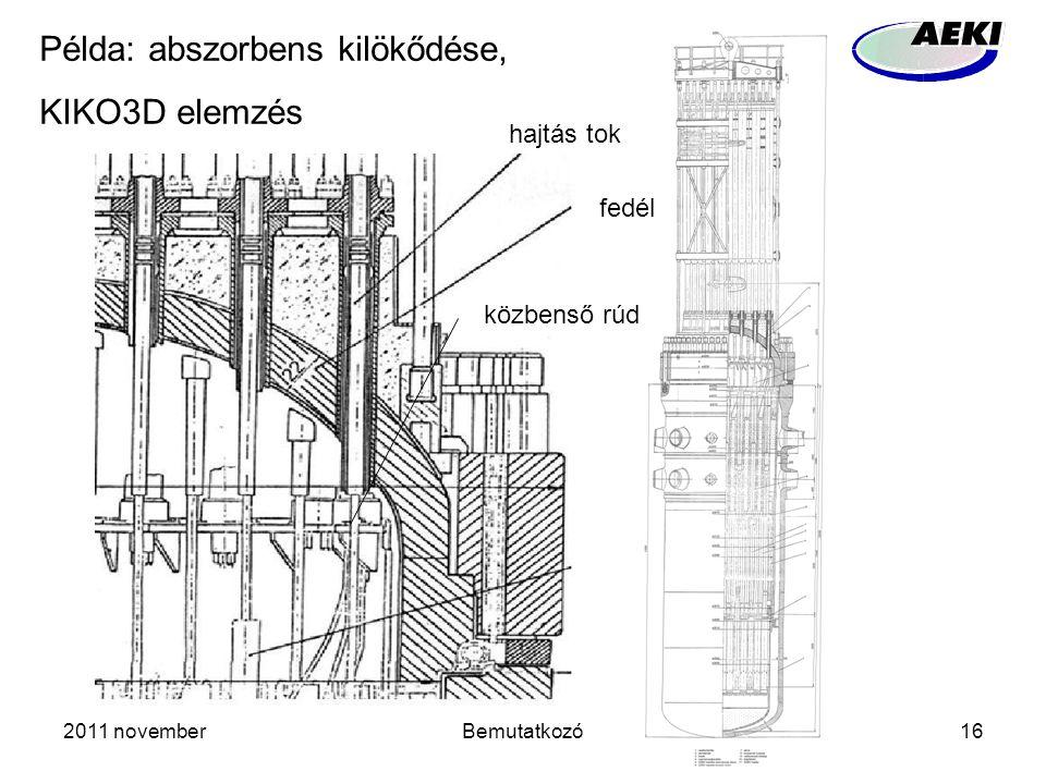 2011 novemberBemutatkozó16 hajtás tok fedél Példa: abszorbens kilökődése, KIKO3D elemzés közbenső rúd