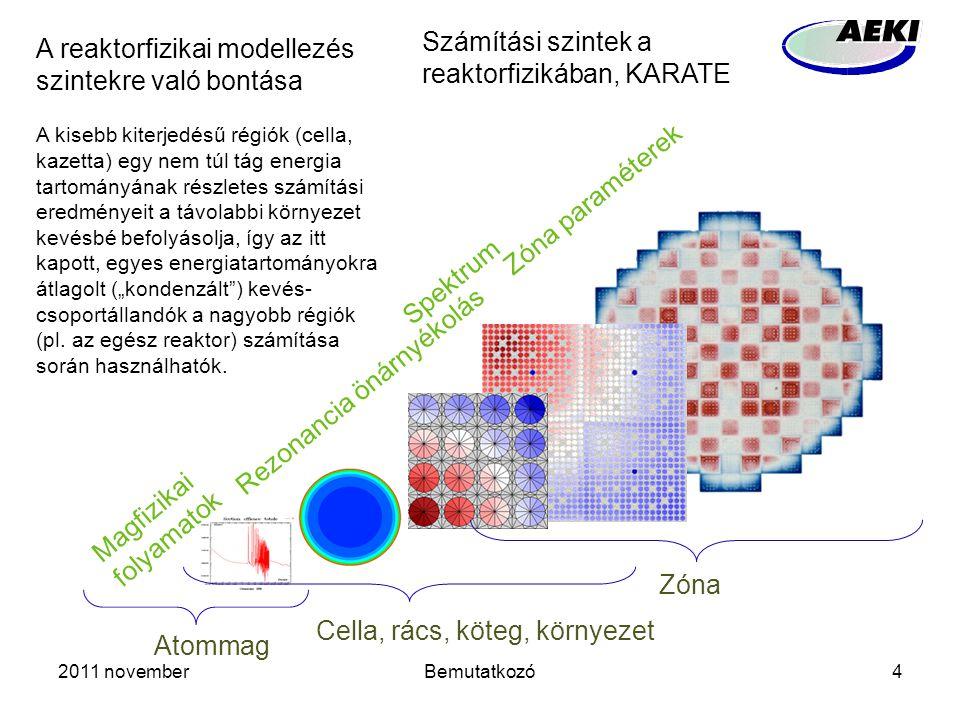 """2011 novemberBemutatkozó4 Rezonancia önárnyékolás Spektrum Zóna paraméterek Magfizikai folyamatok Zóna Cella, rács, köteg, környezet Atommag A reaktorfizikai modellezés szintekre való bontása A kisebb kiterjedésű régiók (cella, kazetta) egy nem túl tág energia tartományának részletes számítási eredményeit a távolabbi környezet kevésbé befolyásolja, így az itt kapott, egyes energiatartományokra átlagolt (""""kondenzált ) kevés- csoportállandók a nagyobb régiók (pl."""